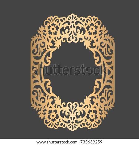 Laser cut floral frame vector ornamental stock vector 735639259 vector ornamental embellishment wedding stationery decoration element junglespirit Choice Image