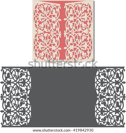 Laser Cut Invitation Card Lasercut Pattern Stock Vector