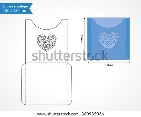 Laser Cut Pocket Envelope Template Wedding Stock Vector 2018
