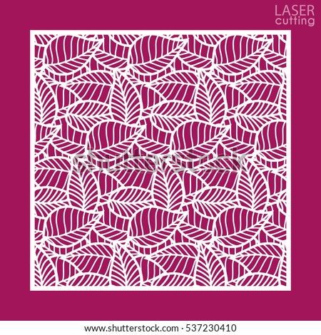 Laser cut square ornamental panel leaves stock vector hd royalty laser cut square ornamental panel with leaves pattern template of wedding invitation or greeting card stopboris Choice Image