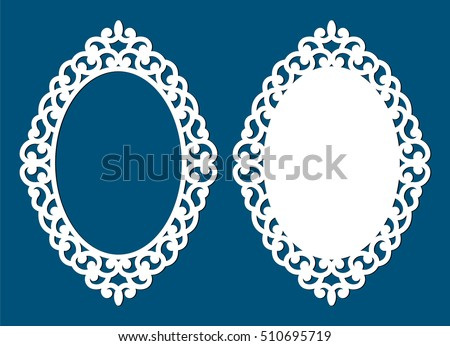 laser cut vector frame abstract oval frame with swirls vector ornament vintage frame - Wooden Laser Cut Frame