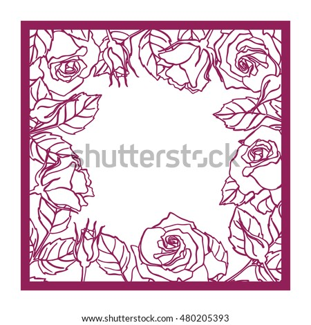 Laser cut vector rose square frame stock vector 480205393 shutterstock laser cut vector rose square frame cutout pattern silhouette with flower and leaves die cut mightylinksfo