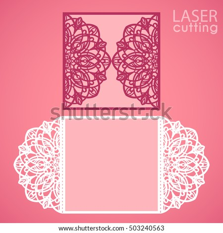 Laser cut wedding invitation card template em vetor stock 503240563 laser cut wedding invitation card template vector die cut paper card with lace round pattern stopboris Choice Image