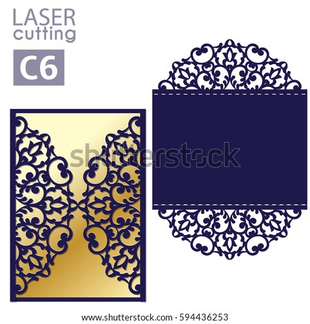 Laser cut wedding invitation card template stock vector hd royalty laser cut wedding invitation card template vector wedding invitation or greeting envelope with abstract ornament stopboris Images