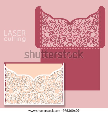 Laser cut wedding invitation card template stock photo photo laser cut wedding invitation card template vector with roses invitation envelope wedding lace invitation stopboris Gallery