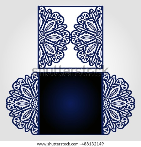 Laser cut wedding invitation template may stock vector 488132149 laser cut wedding invitation template may be used for cutting machines cutout paper wedding stopboris Images