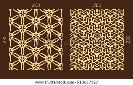 Laser Cutting Set Woodcut Vector Seamless Panels Plywood Lasercut Geometric Design Hexagonal Patterns