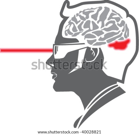 Laser penetrates Mind - stock vector