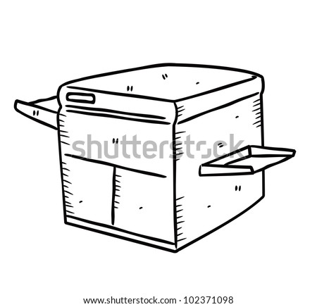 laser printer in doodle style - stock vector