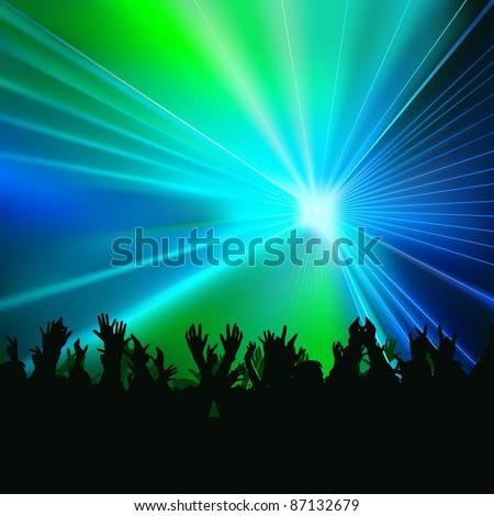 Laser Show - colored background illustration, vector - stock vector