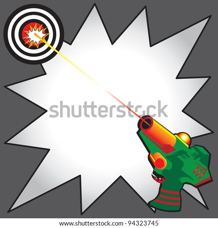 Laser Tag Party Invitation with colorful laser gun blasting a laser beam at a bulls eye target.  Comic Book inspired star burst to write your info
