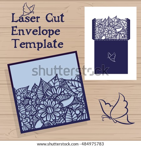 Lasercut vector wedding invitation template wedding stock vector lasercut vector wedding invitation template wedding invitation envelope with flowers for laser cutting lace stopboris Image collections