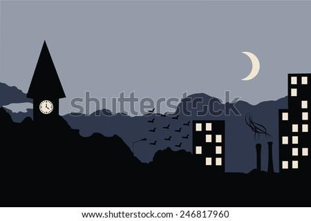 Late night cityscape illustration vector - stock vector