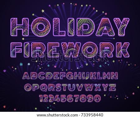 Latin Alphabet Letters Decorated In Holiday Fireworks Style Celebratory Sans Serif Font Custom Typeface