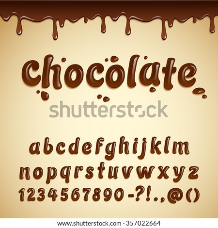 Latin alphabet made of dark melted chocolate with seamless border. Liquid font style. Vector.  - stock vector