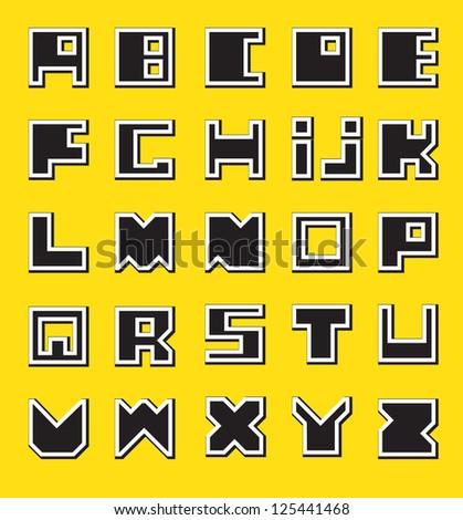 Latin Alphabet. Square at the base./ Black Alphabet - stock vector