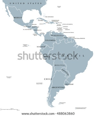 Latin america countries political map national vector de latin america countries political map with national borders countries from the northern border of mexico gumiabroncs Image collections