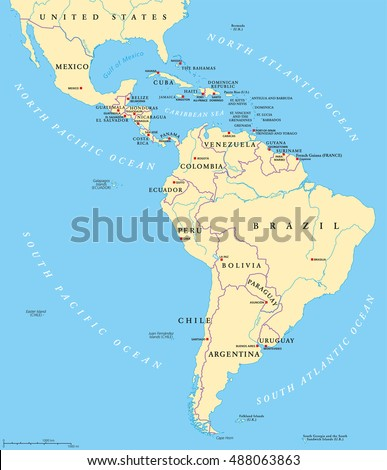 latin america political map with capitals national borders rivers and lakes countries from