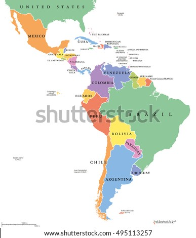 Latin America Single States Political Map Countries In Different Colors With National Borders And