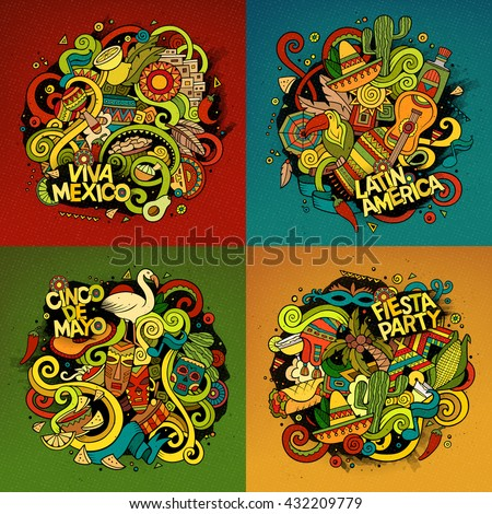 Latin American Cartoon Vector Hand Drawn Stockvector 432209779