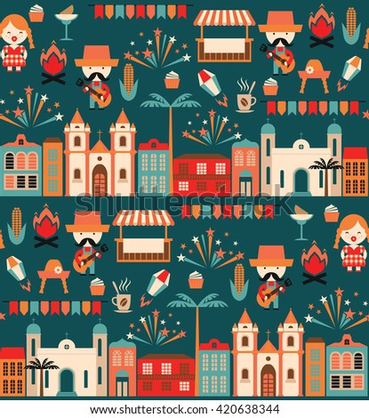 Latin American holiday, the June party of Brazil. Flat seamless pattern with symbolism of the holiday - stock vector