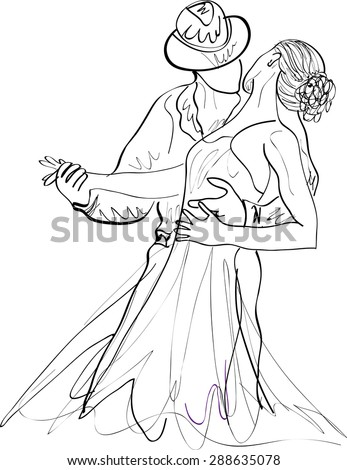 Latin dancing, couple dancing , vector, sketch on a white background - stock vector