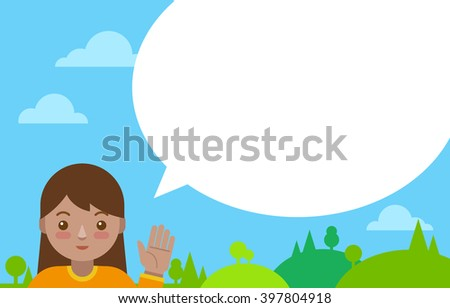 Latin girl with speech bubble