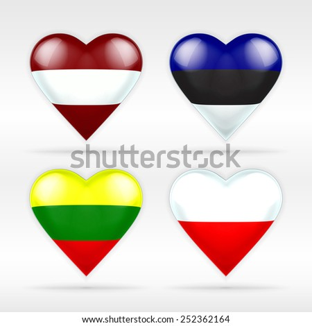 Latvia, Estonia, Lithuania and Poland heart flag set of European states as collection of isolated vector state flags icon elements on white - stock vector
