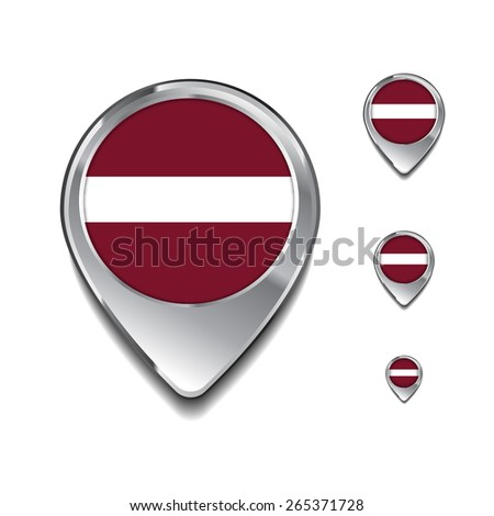 Latvia flag map pointer. 3d Map Pointer with flag glossy button style on gray background - stock vector