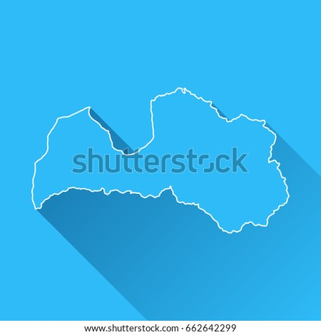 Latvia Map Long Shadow White Outline Stock Vector - Latvia map outline