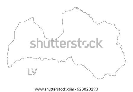 Latvia Outline Silhouette Map Illustration Stock Vector - Latvia map outline