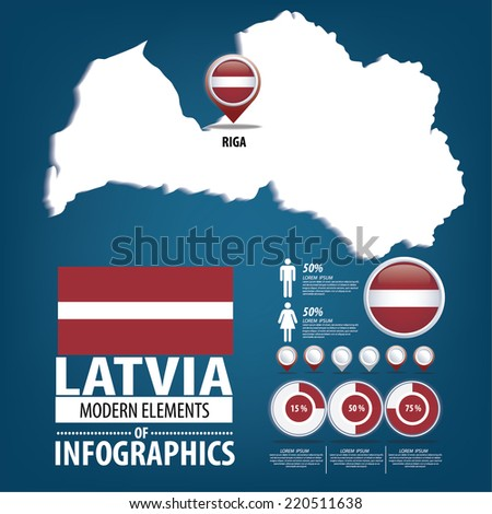 Latvia vector set. flags and icons isolated on white background. - stock vector