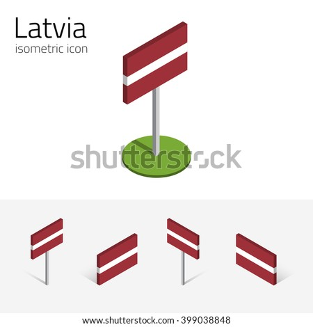 Latvian flag (Republic of Latvia), vector set of isometric flat icons, 3D style, different views. 100% editable design elements for banner, website, presentation, infographic, poster, map. Eps 10 - stock vector