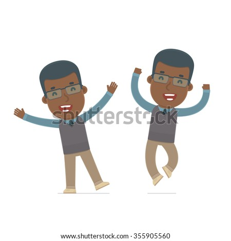 Laughing and Joyful Character African American Teacher celebrates and jumps. for use in presentations, etc. - stock vector