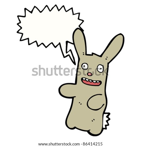 laughing cartoon bunny with speech bubble