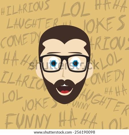 laughing glasses guy illustration - cartoon theme - stock vector