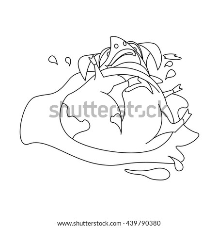 laughing pig for coloring book page vector illustration in black and white for children to - Coloring Book Paper Stock