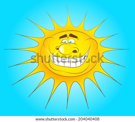 Laughing sun on a bright summer day in cartoon style vector. Smiling, good warm sun on blue sky. Living sun. - stock vector