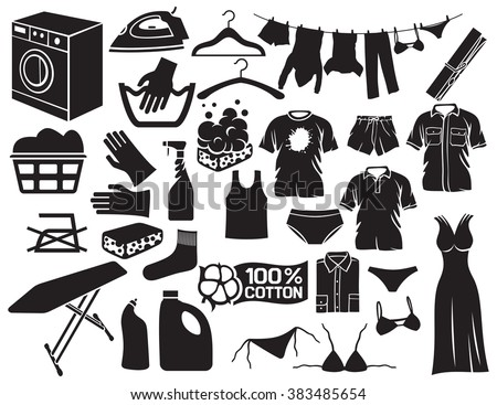 laundry and cleaning icons (housework and laundry theme, soap with foam, washing machine, clothes hanging on a clothesline, detergent)   - stock vector