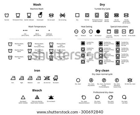 Laundry and Dry Cleaning symbols icon set. Vector collections - stock vector