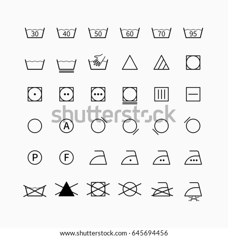 Laundry Drycleaning Vector Symbols Set Garment Stock Vector