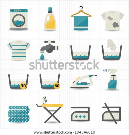 Laundry and Washing Icons - stock vector