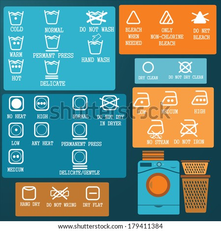 Laundry And Washing Icons set - stock vector