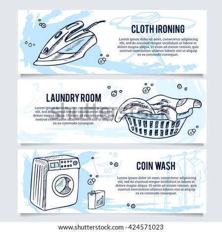Laundry services flyer stock images royalty free images vectors laundry banners or website header set for laundry service pronofoot35fo Image collections