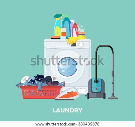 Set Cleaning Equipment Bucket Mop Sponge Stock Vector
