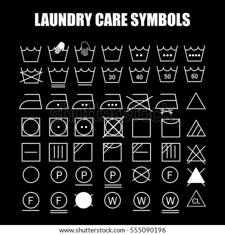 Laundry Care Symbols Set Wash Bleach Stock Vector 555090196