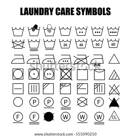 Laundry Care Symbols Set Wash Bleach Stock Vector Royalty Free
