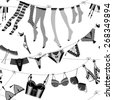 Laundry drying on a washing lines. Black and white lingerie. Seamless background pattern. Vector illustration. - stock vector