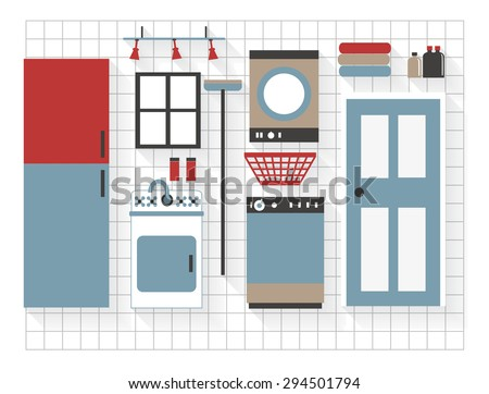 Laundry Furniture Flat Icons with Washing Machine and Dryer - All Long Shadows on one layer - contains blends  - stock vector