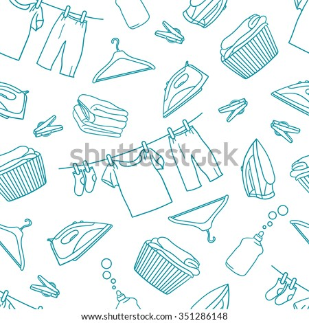 Laundry hand drawn seamless pattern. Sketch objects vector. Doodle illustration background. Set of laundry symbols - stock vector
